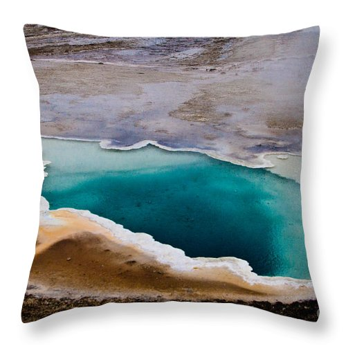 Geyser Hill Loop Throw Pillow featuring the photograph Heart Spring Yellowstone National Park by Dan Hartford