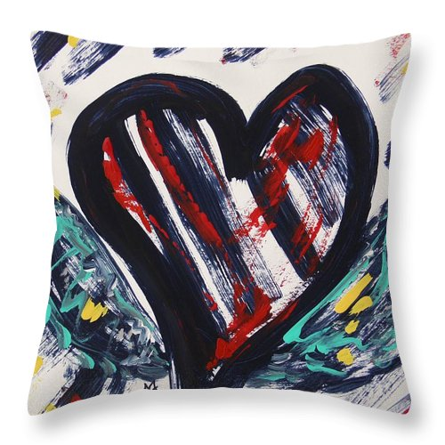 Heart With Wings Throw Pillow featuring the painting Heart With Wings by Mary Carol Williams
