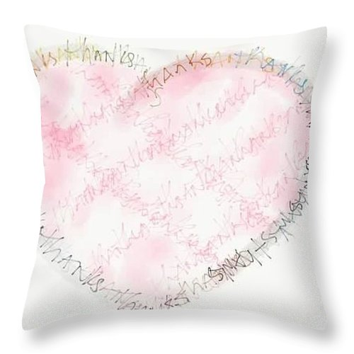 Heart Throw Pillow featuring the digital art Heartful Of Thanks by Barbara Bellissimo