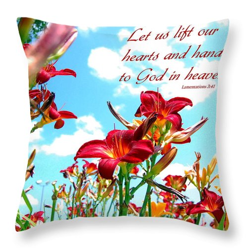 Flowers Throw Pillow featuring the photograph Hearts And Hands by Kim Blaylock