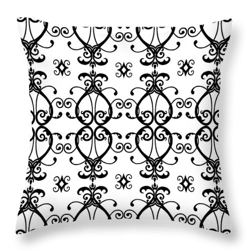 Heart Throw Pillow featuring the digital art Hearts Black And White by Beth Parrish