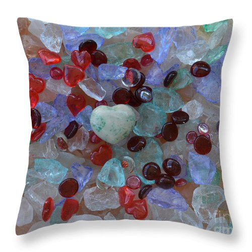 Heart Throw Pillow featuring the photograph Hearts On Sea Glass by To-Tam Gerwe