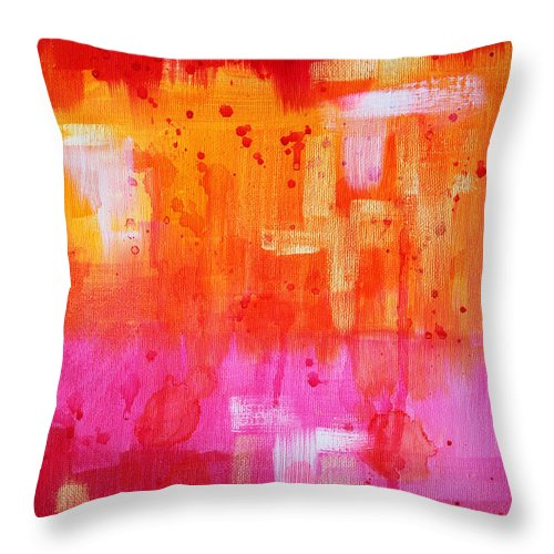 Red Throw Pillow featuring the painting Heat by Nancy Merkle