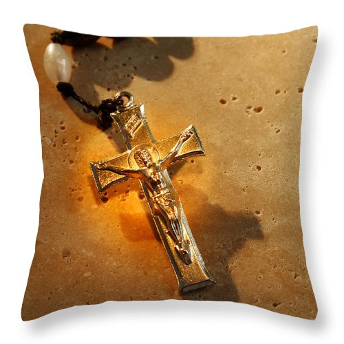 Rosary Throw Pillow featuring the photograph Heavenly Light Rosary by Norman Pogson