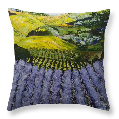 Landscape Throw Pillow featuring the painting Heavenly Valley by Allan P Friedlander