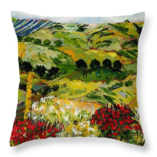 Landscape Throw Pillow featuring the painting Heavenly View by Allan P Friedlander