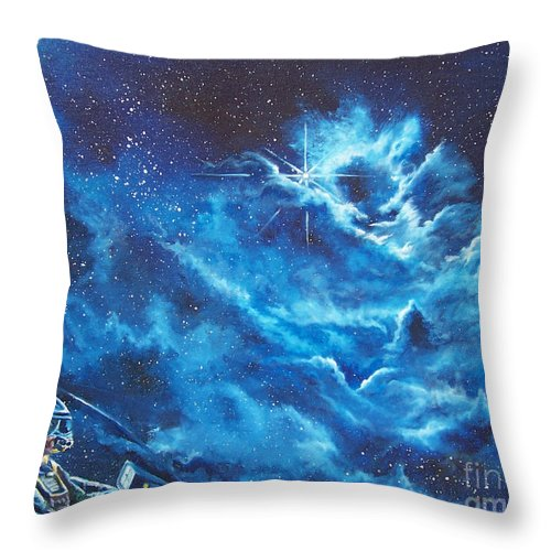 Astro Throw Pillow featuring the painting Heavens Gate by Murphy Elliott