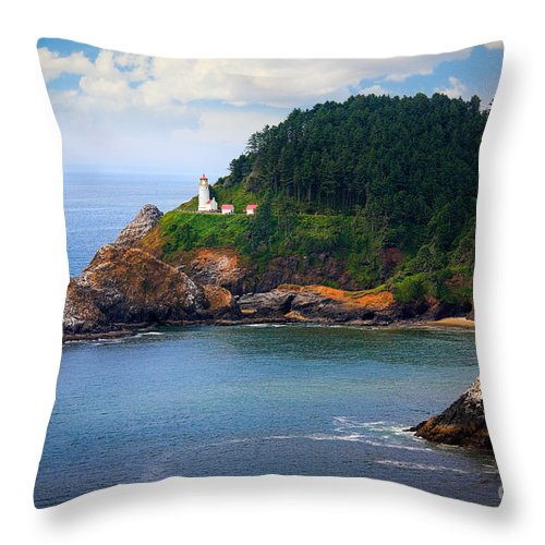 America Throw Pillow featuring the photograph Heceta Head by Inge Johnsson