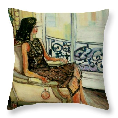 Figurative Throw Pillow featuring the painting Heddy by Helena Bebirian
