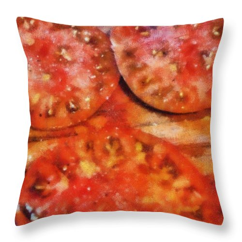 Tomato Throw Pillow featuring the photograph Heirlooms With Salt And Pepper by Michelle Calkins