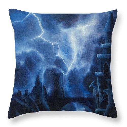 Fantasyjames Christopher Hill Throw Pillow featuring the painting Heisenburg's Castle by James Christopher Hill