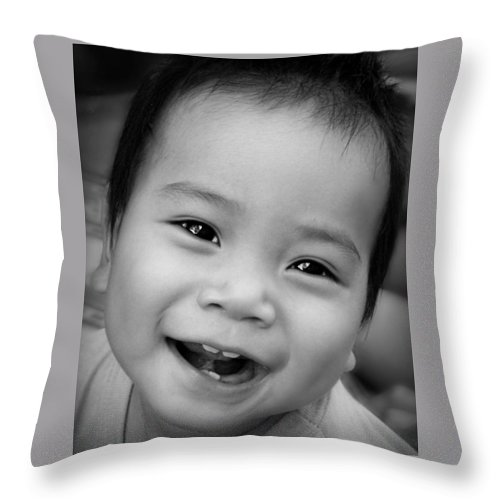 Child Throw Pillow featuring the photograph Hello Dad by Ian Gledhill