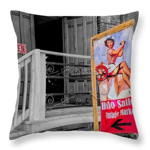 Selective Coloring Throw Pillow featuring the photograph Hello Sailor by Deb Buchanan