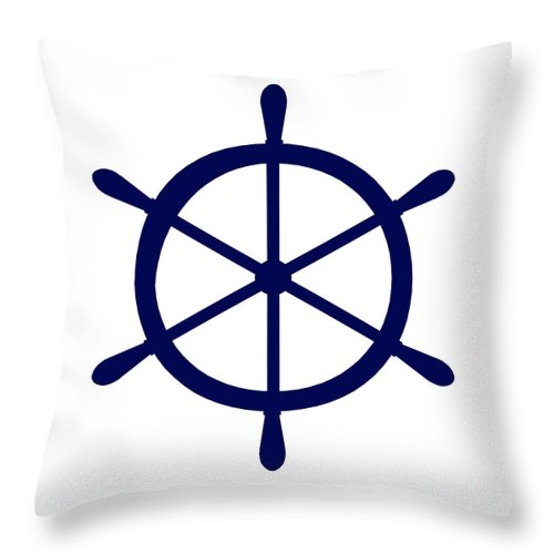 Graphic Art Throw Pillow featuring the digital art Helm In Navy Blue And White by Jackie Farnsworth