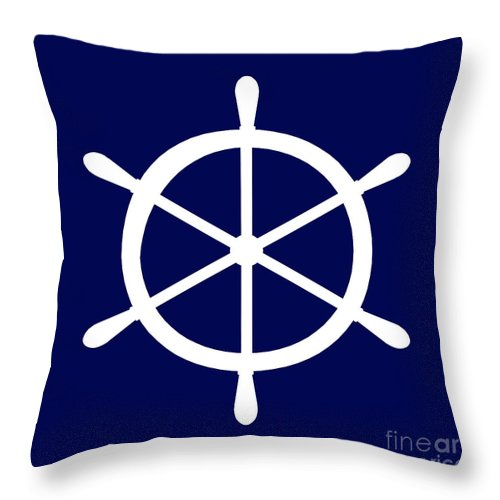 Graphic Art Throw Pillow featuring the photograph Helm In White And Navy Blue by Jackie Farnsworth