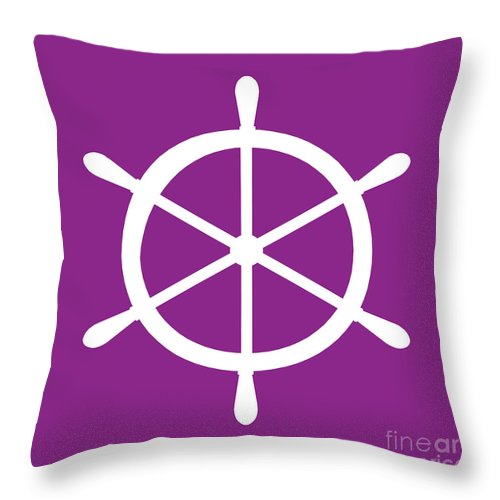 Graphic Art Throw Pillow featuring the digital art Helm In White And Purple by Jackie Farnsworth