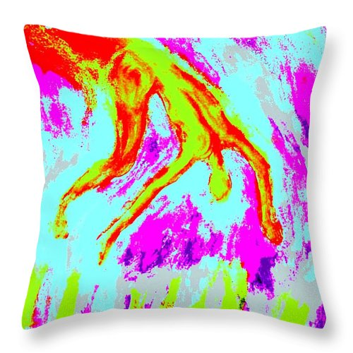Man Throw Pillow featuring the painting Help Me I Am Falling Into The Burning Hell by Hilde Widerberg