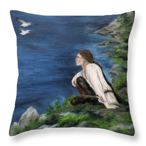Fantasy Throw Pillow featuring the painting Hemlock Of Mimir by FT McKinstry