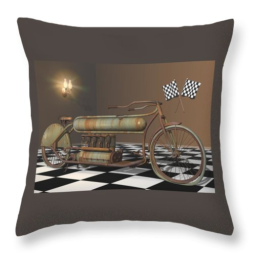 Motorcycle Throw Pillow featuring the digital art Henderson Special by Stuart Swartz