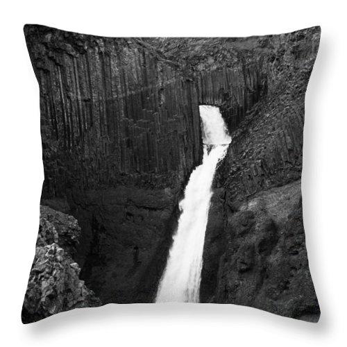 Hengifoss Throw Pillow featuring the photograph Hengifoss Waterfall by Silken Photography