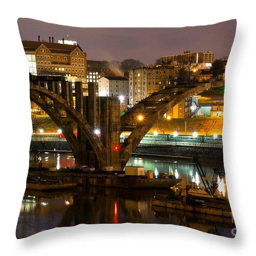 Henley Throw Pillow featuring the photograph Henley Street Bridge Renovation II by Douglas Stucky