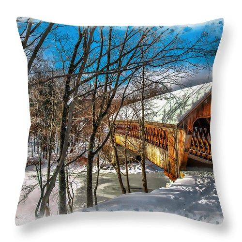 Henniker Throw Pillow featuring the photograph Henniker Bridge by Larry Richardson