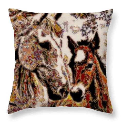 Horses Throw Pillow featuring the mixed media Her Little Colt by Wendie Busig-Kohn