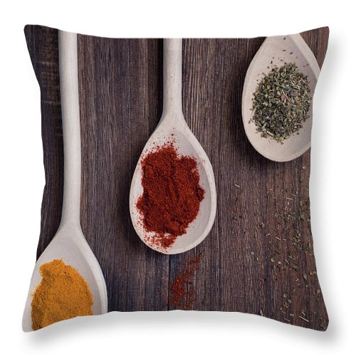 In A Row Throw Pillow featuring the photograph Herbs And Spices by Photo By Asri' Rie
