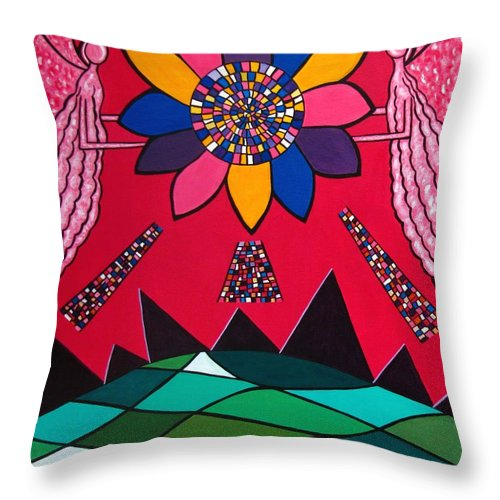 Angel Throw Pillow featuring the painting Here Comes The Sun 11 by Sandra Marie Adams