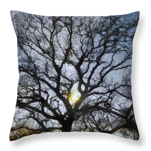 Autumn Throw Pillow featuring the painting Here Comes The Sun by Jeffrey Kolker