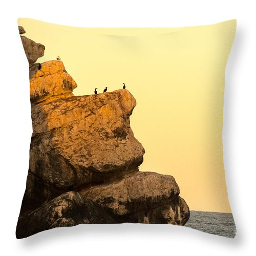Morro Rock Throw Pillow featuring the photograph Here Comes The Sun by Terry Garvin