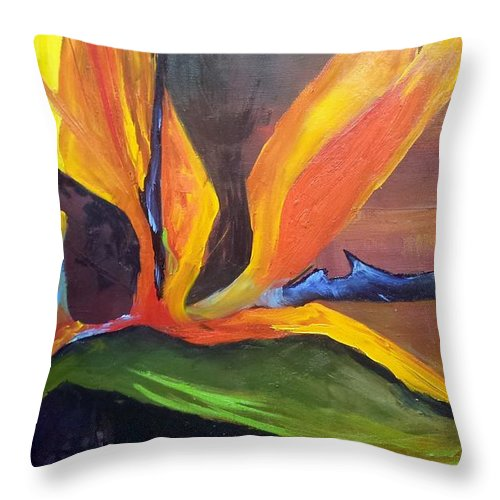 Bird Of Paradise Throw Pillow featuring the painting Here I Am Bird of Paradise by Barbara Haviland