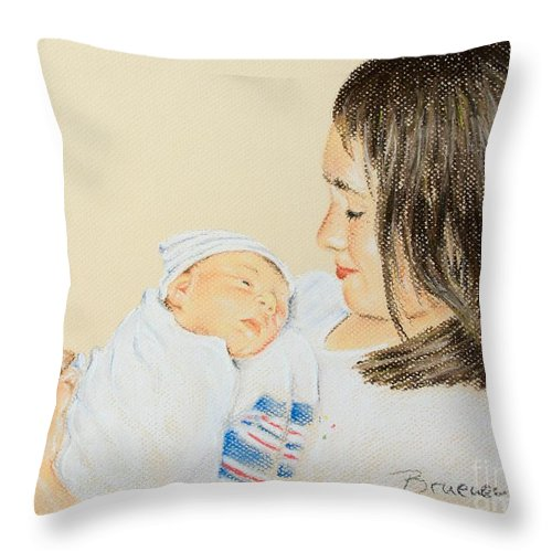 Pastel Throw Pillow featuring the pastel Here I Am Sister by Katharina Filus