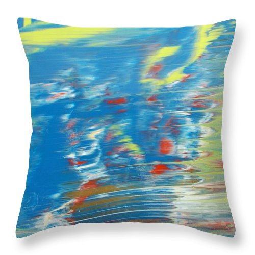 Original Throw Pillow featuring the painting Here Nor There by Artist Ai