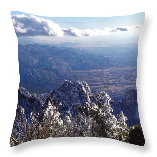 Mountains Throw Pillow featuring the painting Here We Are by Lois  Rivera
