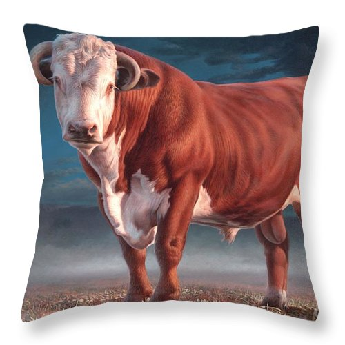 Hereford Bull Throw Pillow featuring the painting Hereford Bull by Hans Droog
