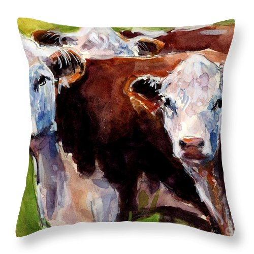 Hereford Cows Throw Pillow featuring the painting Hereford Ears by Molly Poole