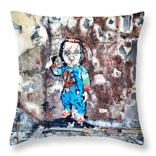 Graffiti Throw Pillow featuring the photograph Here's Chucky by Pete Moyes