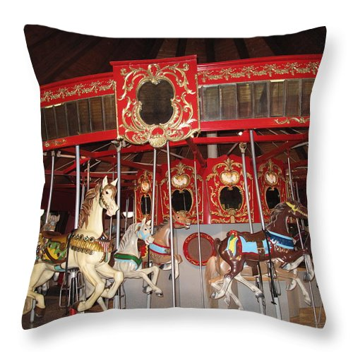 Carousel Throw Pillow featuring the photograph Heritage Looff Carousel by Barbara McDevitt