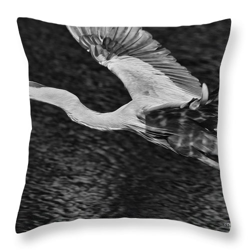 Heron Throw Pillow featuring the photograph Heron On The Move Up Close by Deborah Benoit