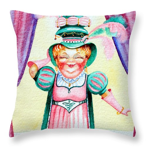 Children's Illustrations Throw Pillow featuring the painting Herzats Hats 1 by Hanne Lore Koehler