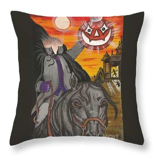 Print Throw Pillow featuring the painting He's Here by Margaryta Yermolayeva
