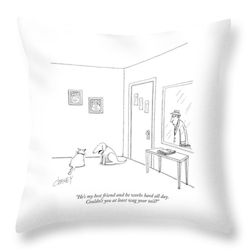 Animals Throw Pillow featuring the drawing He's My Best Friend And He Works Hard All Day by Tom Cheney