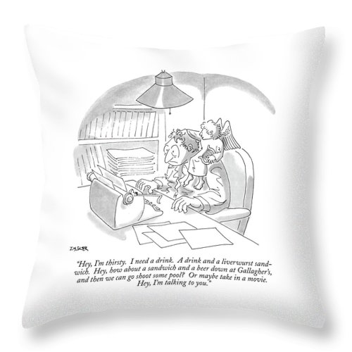 (a Muse Speaks To A Man At His Typewriter As He Sits On The Man's Shoulder.) Writing Throw Pillow featuring the drawing Hey, I'm Thirsty. I Need A Drink. A Drink by Jack Ziegler