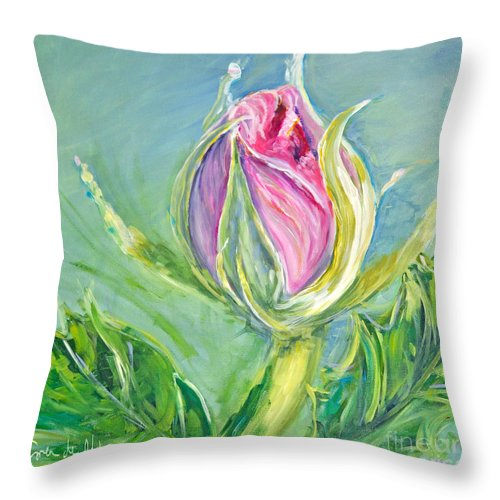 Island Throw Pillow featuring the painting Hibiscus Blossom by Paola Correa de Albury