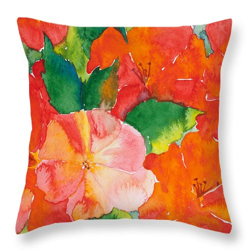 Flowers Throw Pillow featuring the painting Hibiscus Flowers by Michelle Constantine