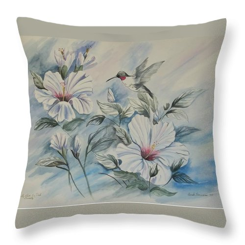 White Hibiscus Throw Pillow featuring the painting Hibiscus in Spring by Wanda Dansereau
