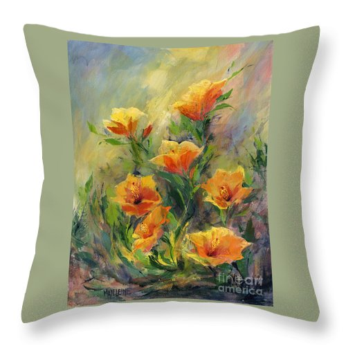 Canvas Prints Throw Pillow featuring the painting Hibiscus by Madeleine Holzberg