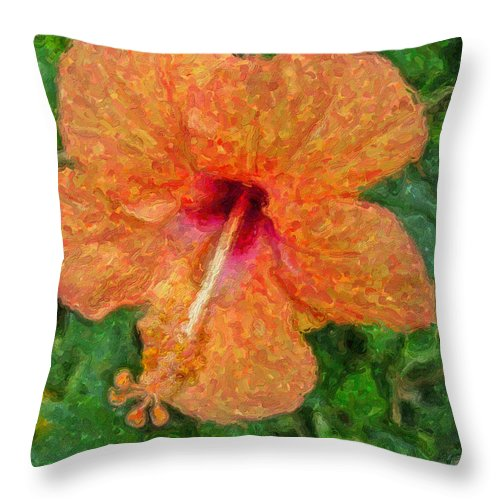 Hibiscus Throw Pillow featuring the digital art Hibiscus Van Gogh by Sandra Selle Rodriguez
