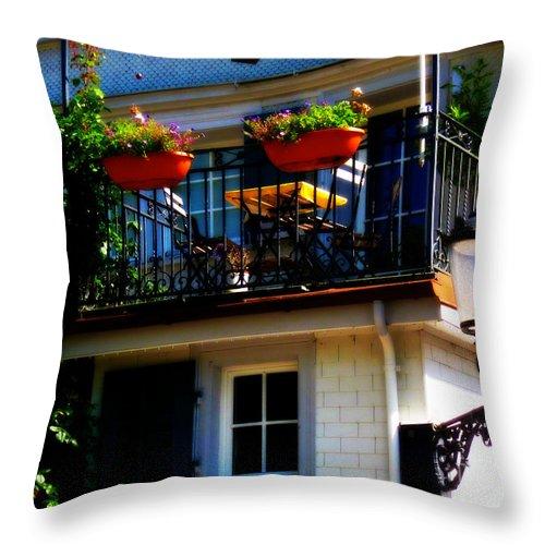 Hidden Away Balcony Throw Pillow featuring the photograph Hidden Away Balcony by Susanne Van Hulst